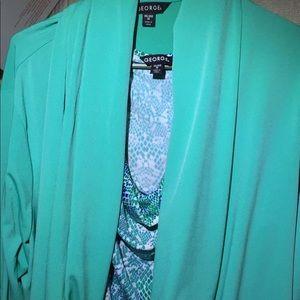 George plus size Green blouse&cardigan combo sz 20